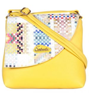 Esbeda Yellow Color Graphic Print Pu Synthetic Women's Slingbag