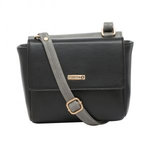 4f877a5505 Buy Esbeda Black-Grey Solid Pu Synthetic Material Two Sided Slingbag For  Women online