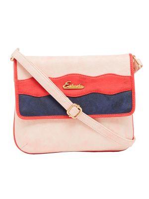 Buy Esbeda Light Pink Color Stripe Pu Synthetic Material Slingbag For Women-1853 online
