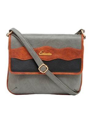 Buy Esbeda Grey Color Stripe Pu Synthetic Material Slingbag For Women-1855 online