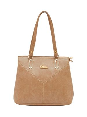Buy Esbeda Beige Color Solid Pu Synthetic Material Handbag For Women online