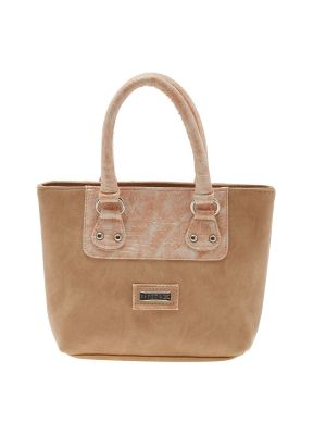Buy Esbeda Beige Solid Pu Synthetic Material Handbag For Women online
