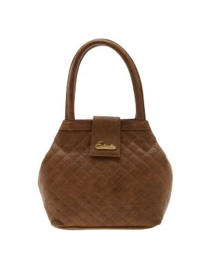 Buy Esbeda Brown Checks Pu Synthetic Material Handbag For Women-1924 online