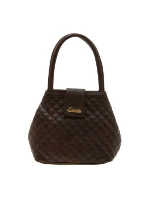Buy Esbeda Dark Brown Checks Pu Synthetic Material Handbag For Women online