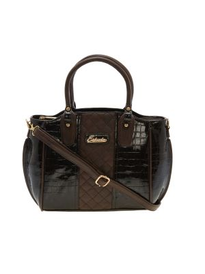 Buy Esbeda Brown Solid Pu Synthetic Material Handbag For Women online