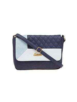 Buy Esbeda Blue Checkered Pu Synthetic Material Slingbag For Women online