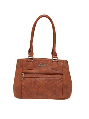 Buy Esbeda Tan Solid Pu Synthetic Material Handbag For Women online