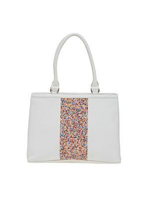 Buy Esbeda White Solid Pu Synthetic Material Handbag For Women online