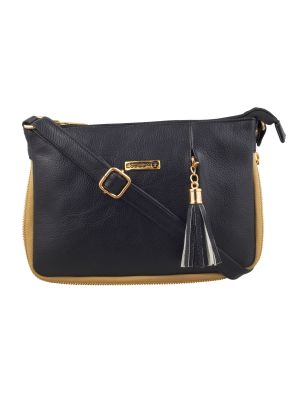 Buy Esbeda Black Solid Pu Synthetic Fabric Slingbag For Women online