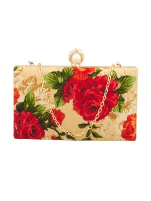Buy Esbeda Gold-red Floral Print Pu Synthetic Fabric Clutch For Women online