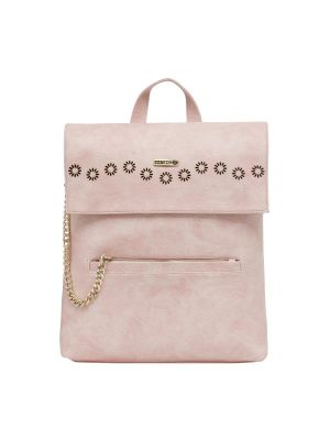 Buy Esbeda Light Pink Solid Pu Synthetic Fabric Bagpack For Women online
