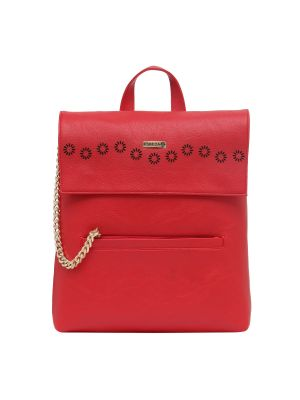 Buy Esbeda Red Solid Pu Synthetic Fabric Bagpack For Women online