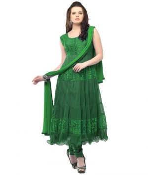 Buy Deemark Magnificent Green Long Anarkali Semi Stitched Suit online