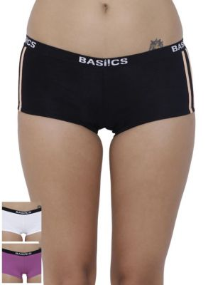 Buy Basiics By La Intimo Women's Alegria Joy Boyshort Panty (Combo Pack of 3 ) online