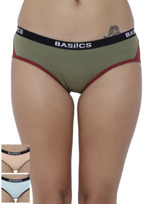 Buy Basiics By La Intimo Women's Picante Spicy Hipster Panty (Combo Pack of 3) online