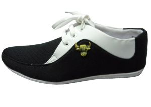 Comfort Cotton Casual Shoes In Black And White Finish_CASUAL-BLACK-WHITE