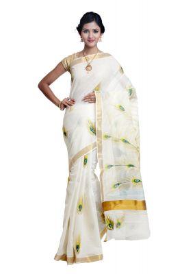 Buy Sudarshan Silks White Cotton Saree Sp_ajs1040 online