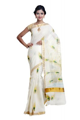 Buy Sudarshan Silks  White  Cotton  Saree online