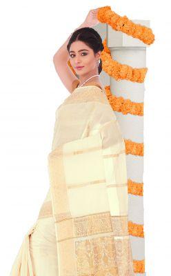 Buy Sudarshan Silks Cream Rawsilk Geometric Print Saree_ajs407 online