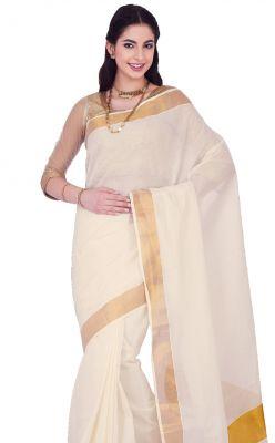 Buy Sudarshan Silks White Rawsilk Geometric Print Saree_ajs410 online