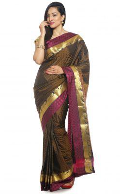 Buy Sudarshan Silks Sudarshan Rawsilk Brown Saree - (code -as1355) online