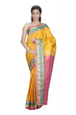Buy Sudarshan Silks Presents Pure Silk Kanjeevaram Hand Women Saree - Yellow (product Code - Ksb17-vp-silk) online