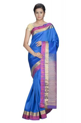 Buy Sudarshan Silks Presents Pure Silk Kanjeevaram Hand Women Saree - Blue- (product Code - Ksb21-vp-silk) online