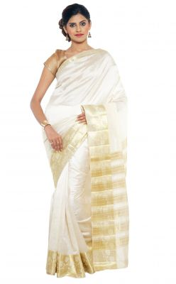 Buy Sudarshan Silks Sudarshan Rawsilk White Saree online