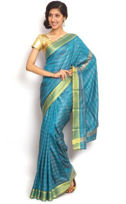 Buy Sudarshan Silks Blue Art Silk Saree online