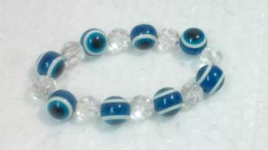 Buy Blue Color Glass Bead Evil Eye Stretch Bracelet For Protection And Luck (9 Mm) online