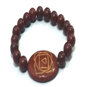 Buy Red Jasper Root Chakra Symbol Engraved Bracelet online