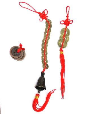 Buy Set Of 3 Lucky Coin & 3 Lucky Coin Hanging & 12 Coin Hanging Bell For Good Luck online