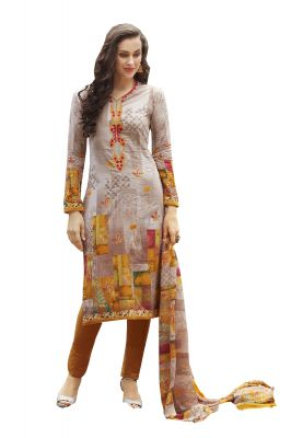 Buy De Marca Multi Colour Colour Cotton Semi Stitch Dress Material (code - De Marca 405-9068) online