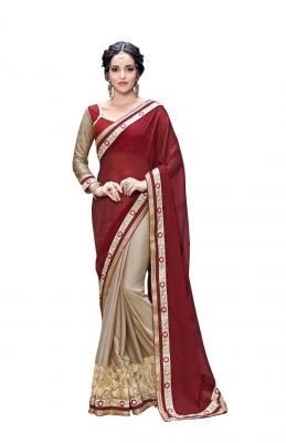 Buy De Marca Maroon - Beige Georgette - Fancy Fabric Saree (code - De Marca 409-4001) online