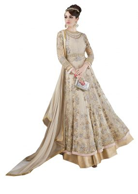 Buy De Marca Beige Colour Semi Stitched Net Dress Material online