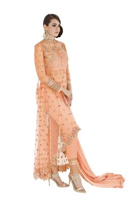 Buy De Marca Light Orange Colour Semi Stitched Georgette - Net Dress Material online