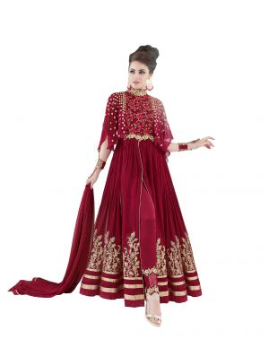 Buy De Marca Maroon Colour Semi Stitched Georgette Dress Material online