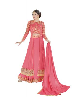 Buy De Marca Pink Colour Semi Stitched Georgette - Net Dress Material online