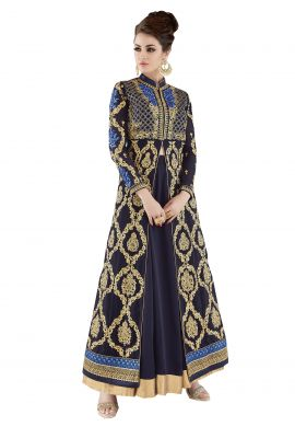 Buy De Marca Dark Blue Colour Semi Stitched Georgette Dress Material online