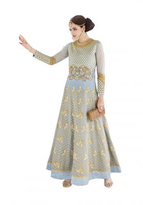 Buy De Marca Pastel Blue Colour Semi Stitched Georgette Dress Material online