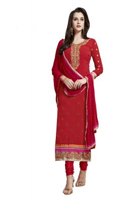Buy De Marca Red Colour Semi Stitched Georgette Dress Material online