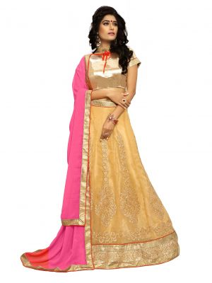 Buy De Marca Gold Colour Semi Stitched Metty Lehenga Choli online