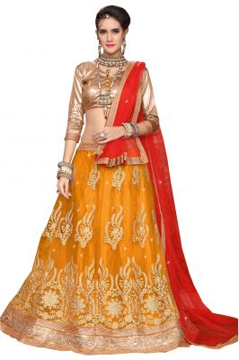 Buy De Marca Gold Colour Semi Stitched Brocade Lehenga Choli online
