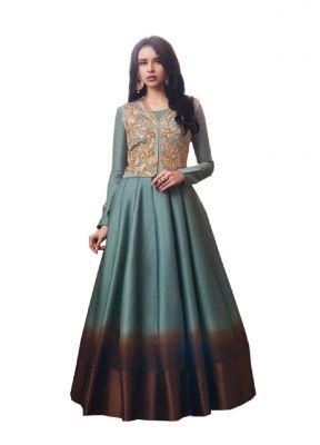 603fd80055bbb De Marca Grey Tussar Silk Unstitched Anarkali Dress Material