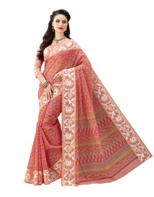 Buy De Marca Pink Cotton Saree (code - De Marca A6473) online