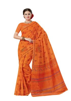 Buy De Marca Orange Cotton Saree online