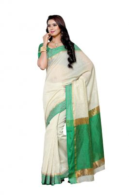 Buy De Marca Off White - Green Colour Art Silk Saree (product Code - Bf1986c) online