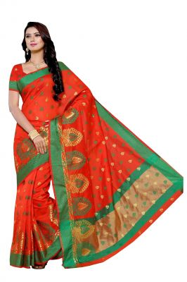 Buy De Marca Orange Colour Art Silk Saree (product Code - Bf1987d) online