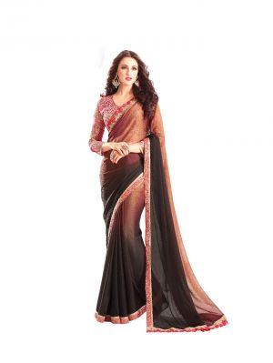 Buy De Marca Brown Premium Georgette Shaded Saree (code - De Marca Bf611) online