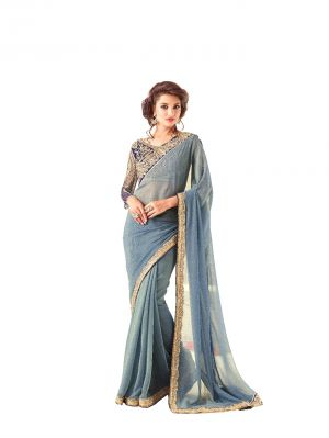 Buy De Marca Grey Two Tone Chiffon Saree (code - De Marca Bf612) online